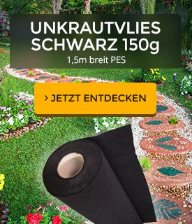 150g vlies pes schwarz unkrautschutzvlies unkrautvlies. Black Bedroom Furniture Sets. Home Design Ideas