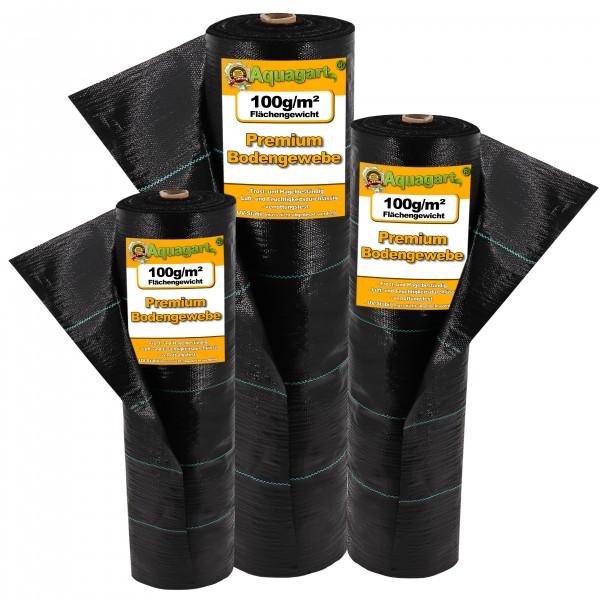 20m² Bodengewebe Unkrautfolie Mulchfolie 100g 1m breit schwarz